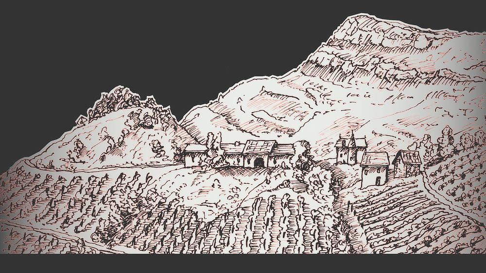 Weinberg unter Monthoux in den französischen Alpen