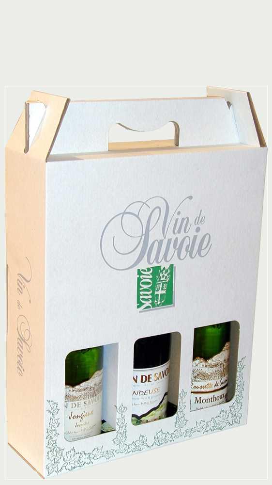 Ein Set von drei Weinflaschen aus den Savoyen